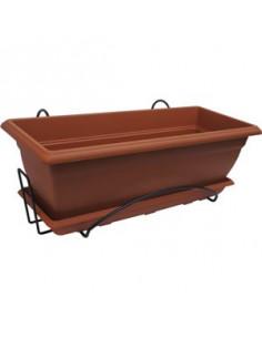 Jardinière plastique PRISCA avec soucoupe et support 50 cm couleur terre cuite