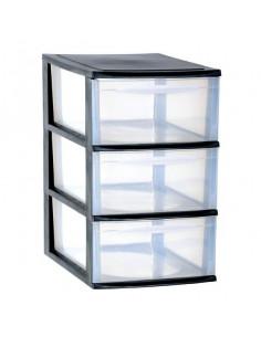 EDA Module A4 3 tiroirs en plastique noir