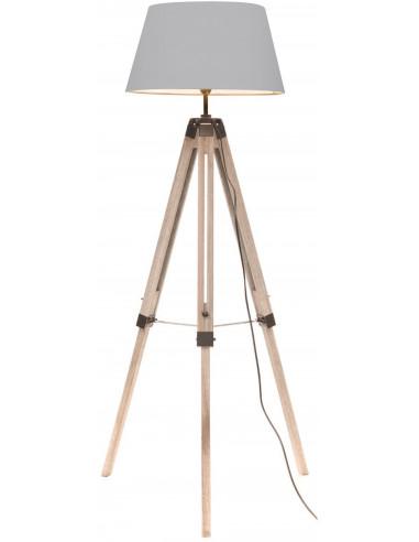 FORNORD Lampe trépied gris H.142cm abat-jour Ø32cm