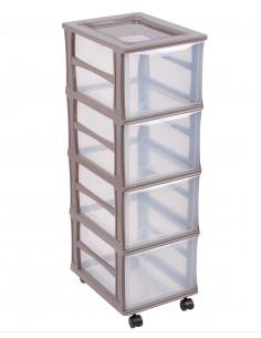 FORNORD Box de rangement à roulettes 4 tiroirs transparent/taupe