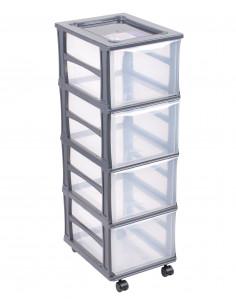 FORNORD Box de rangement à roulettes 4 tiroirs transparent/gris