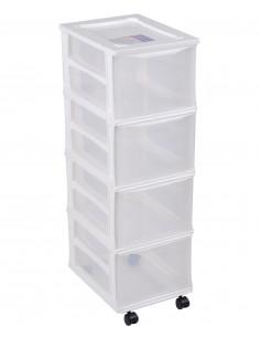 FORNORD Box de rangement rouglette 4 tiroirs transparent/bleu