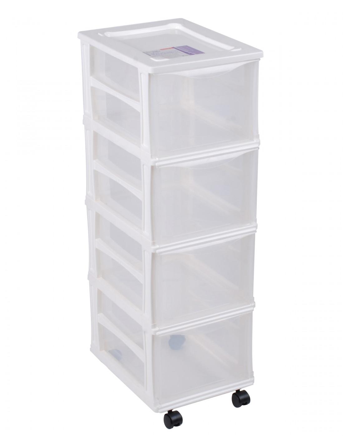 fornord box de rangement roulettes 4 tiroirs transparent bleu hyper brico. Black Bedroom Furniture Sets. Home Design Ideas