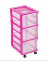 FORNORD Box de rangement rouglette 3 tiroirs transparent/fushia