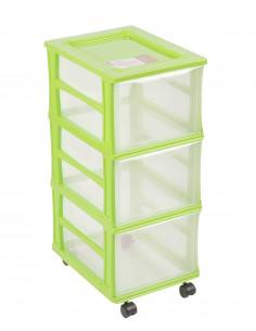 FORNORD Box de rangement à roulettes 3 tiroirs transparent/anis