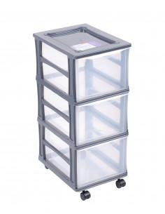 FORNORD Box de rangement à roulettes 3 tiroirs transparent/gris