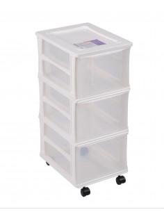 FORNORD Box de rangement à roulettes 3 tiroirs transparent/blanc