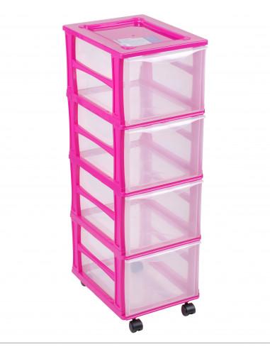 FORNORD Box de rangement rouglette 4 tiroirs transparent/fushia