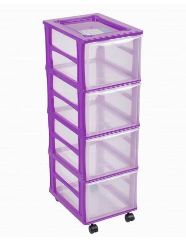 FORNORD Box de rangement rouglette 4 tiroirs transparent/violet