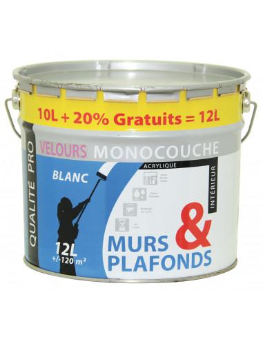 Reca peinture acrylique murs et plafonds blanc monocouche velours 10 l 20 gratuit hyper brico - Peinture acrylique mur et plafond ...