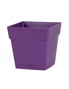 EDA Pot Toscane 10L avec soucoupe clipsée et réserve d'eau prune