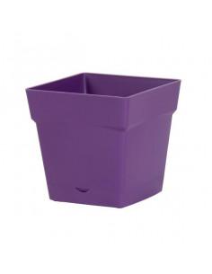 EDA Pot Toscane 3,4L avec soucoupe clipsée et réserve d'eau prune