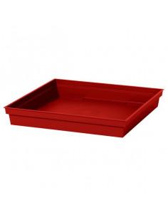 EDA Soucoupe Toscane carrée L26,7 cm rouge rubis pour pot carré 32 cm