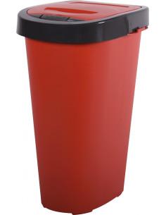 EDA Poubelle de cuisine CITY PUSH 25L rouge rubis