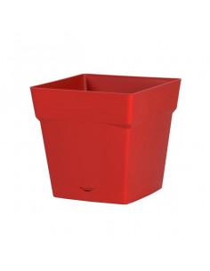 EDA Pot TOSCANE avec soucoupe clipsée réserve d'eau l17,4 x l17,4 x h17 cm rouge rubis