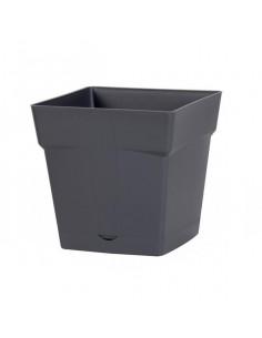 EDA Pot TOSCANE avec soucoupe clipsée réserve d'eau l17,4 x l17,4 x h17 cm gris anthracite