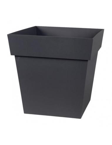 EDA Pot TOSCANE carré bas L32 x l32 x H32 cm gris anthracite