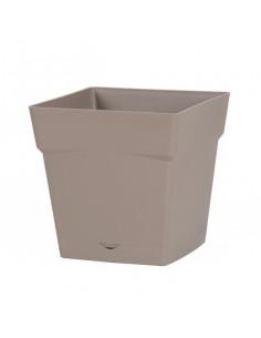 EDA Pot TOSCANE avec soucoupe clipsée réserve d'eau L24,8 x l24,8 x H24 cm taupe