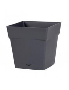 EDA Pot TOSCANE avec soucoupe clipsée réserve d'eau L24,8 x l24,8 x H24 cm gris anthracite
