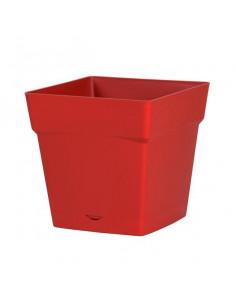EDA Pot TOSCANE avec soucoupe clipsée réserve d'eau L24,8 x l24,8 x H24 cm rouge rubis