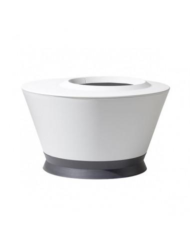 EDA Table basse Ikone blanc cérusé avec soucoupe gris anthracite