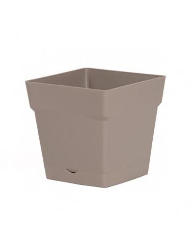 EDA Pot Toscane 3,4L avec soucoupe clipsée et réserve d'eau taupe