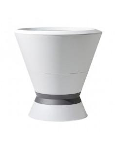 EDA Pot Ikone blanc cérusé avec soucoupe et pied à lester H. 76 cm 105L