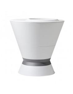 EDA Pot Ikone blanc cérusé avec soucoupe et pied à lester et tablette H. 76 cm 105L