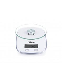 TRISTAR Balance de cuisine blanche 5 kg max. avec plaque en verre sécurisée