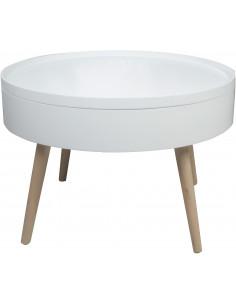 FORNORD Table basse blanche avec plateau amovible Ø 60 cm x H. 40 cm