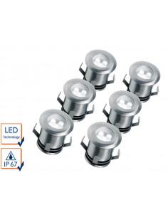 SMARTWARES Lot de 6 Spots de Sol Rond Acier Inoxydable, Ø 3 cm, 5000 K IP67, LED, extérieur, encastrables
