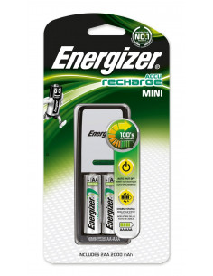 ENERGIZER Mini Chargeur pour piles AA et AAA + 2 piles AA, 2000mAh
