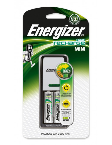energizer mini chargeur pour piles aa et aaa 2 piles aa 2000mah hyper brico. Black Bedroom Furniture Sets. Home Design Ideas