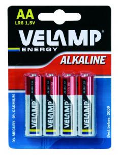 VELAMP 4 Piles Alcalines LR6 AA 1,5V