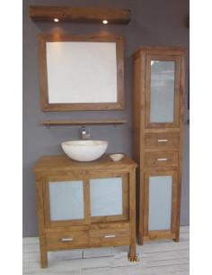 PASCAL JR PILLET Meuble de salle de bain en teck CONTIS 2p 2t 80cm