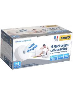 SEKO Recharges universelles pour absorbeur d'humidité Galet percé Neutre, Blanc, Set de 4 Pièces