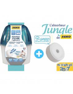 SEKO Absorbeur d'humidité JUNGLE + Galet percé 500gr, Bleu Canard Tendance