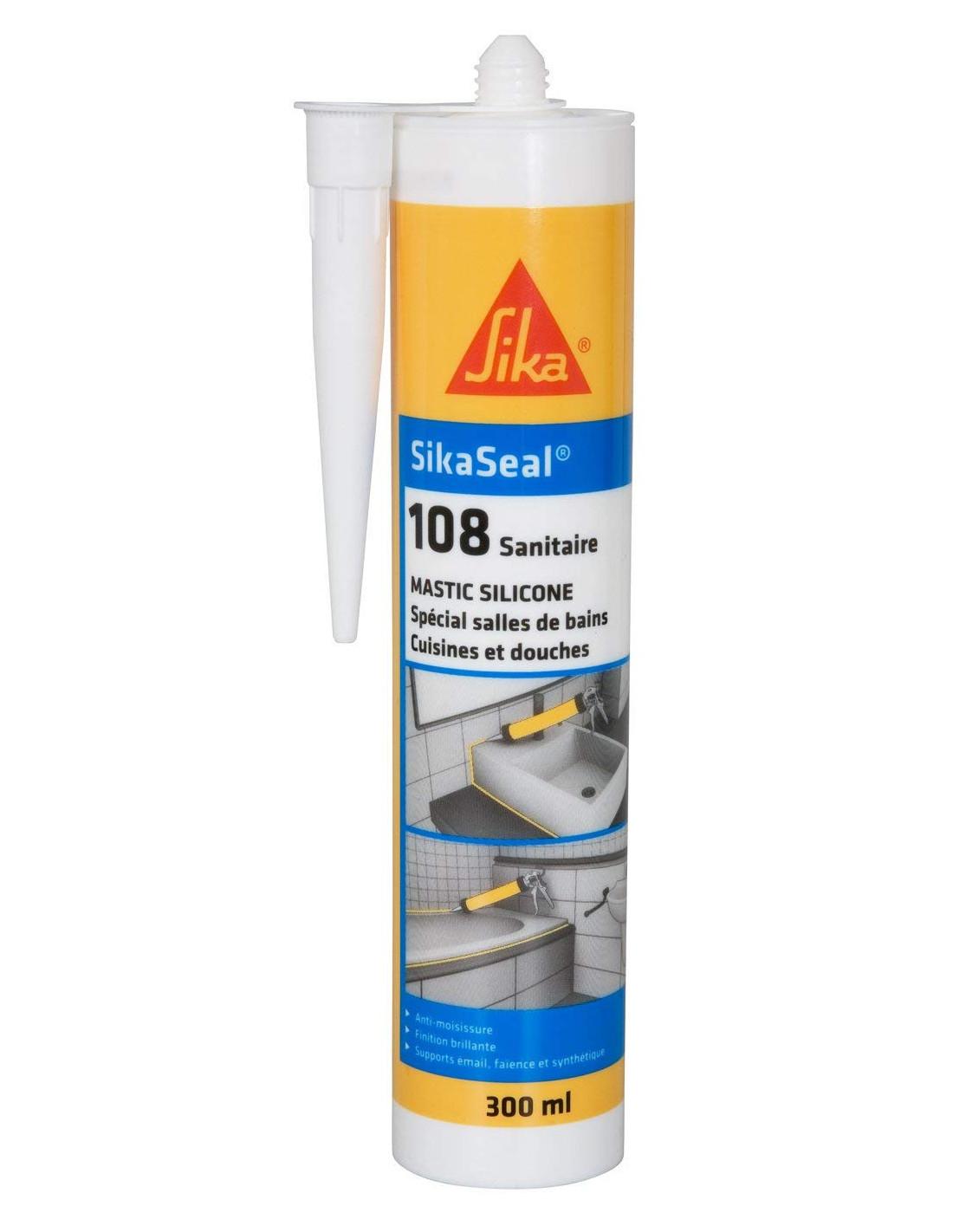 Sika Sikaseal 108 Sanitaire Mastic Silicone Anti Moisissure