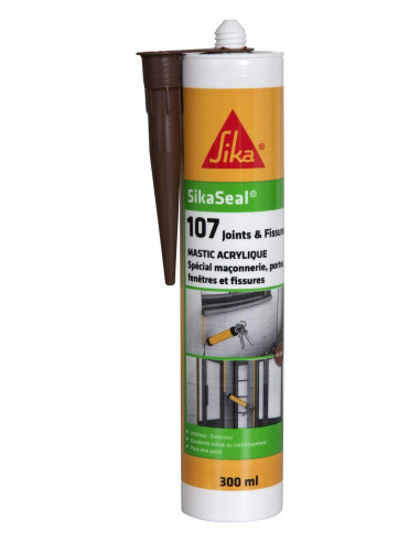 SIKA SIKASEAL 107 JOINTS & FISSURES Mastic acrylique spécial façade SNJF - 300ml - acajou