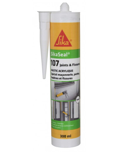 SIKA SIKASEAL 107 JOINTS & FISSURES Mastic acrylique spécial façade SNJF - 300ml - blanc