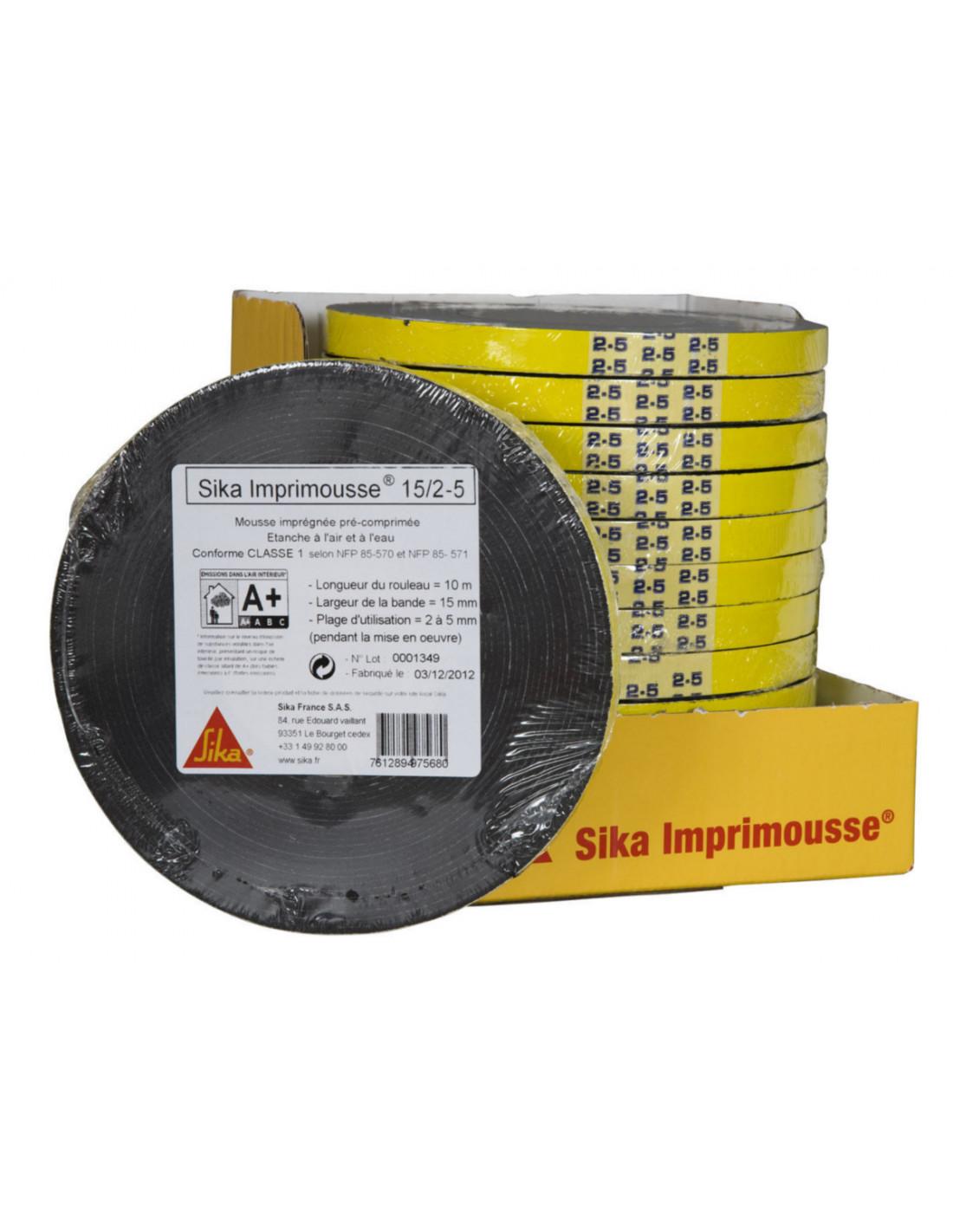 Mousse Sur Portail Pvc sika imprimousse® 15/2-5 mousse pré-comprimée imprégnée de résine  synthétique - 10m