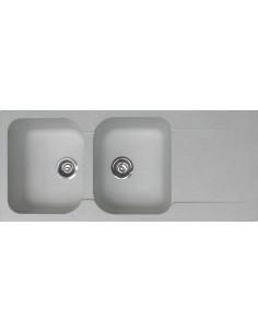 COGESANIT Evier de synthèse BIOURDON 2 cuves + 1 égouttoir 116x50cm blanc moucheté