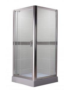 Paroi de douche d'angle avec porte pivotante 100 x 100 x H.185 cm