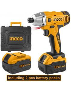 INGCO CIDLI228181 Visseuse à choc li-ion 18v + 47 accessoires + 2 batteries