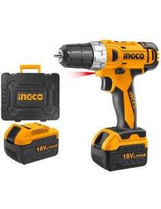 INGCO CDLI228180 Perceuse sans fil Li-ion 18V avec 58 accessoires et 2 batteries