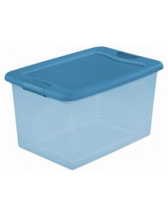 STERILITE Bac en plastique avec verrouillage bleu transparent 61L