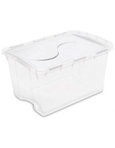 STERILITE Boîte de rangement à couvercle articulé blanc transparent 45L