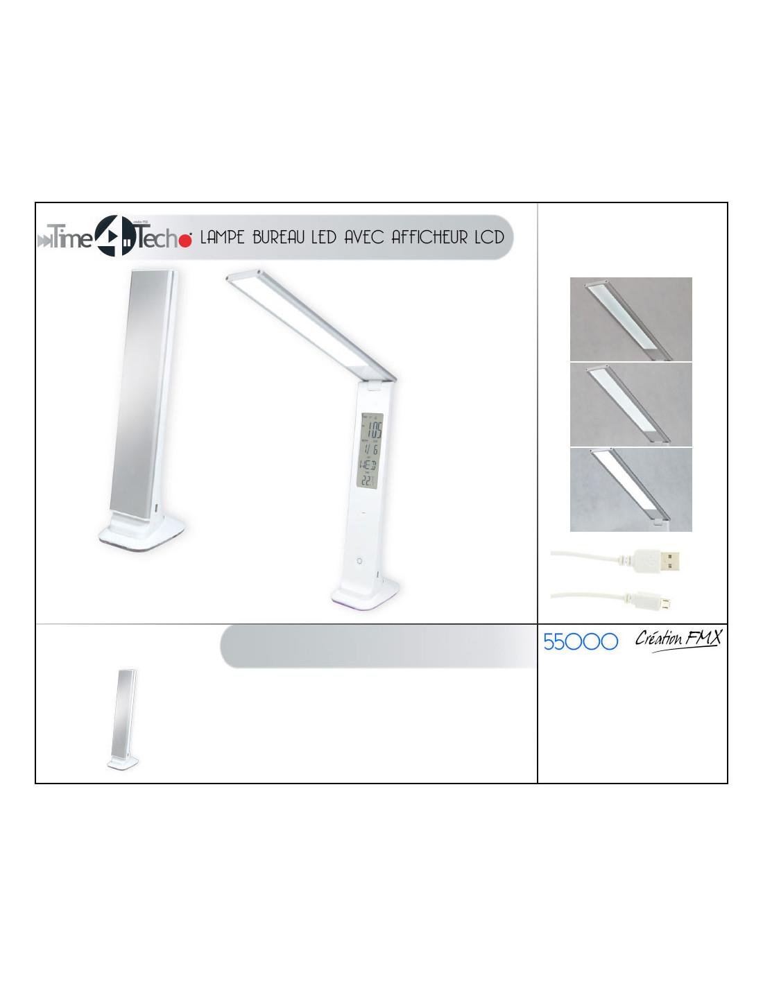 Afficheur Finition Usb Lampe Lcd Bureau Avec Pliable Fomax De Led Acj5R34Lq