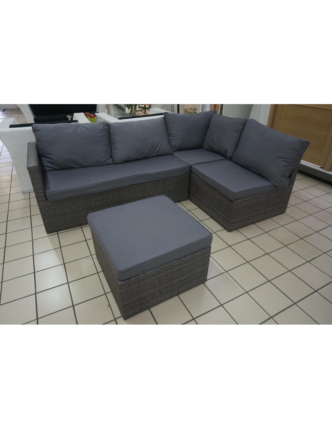 ensemble salon de jardin 1 canap d 39 angle 1 pouf 4 pcs hyper brico. Black Bedroom Furniture Sets. Home Design Ideas