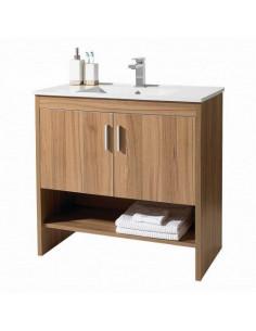 Ensemble de meubles de salle de bain bois avec vasque en céramique